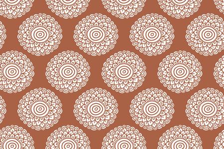 Boho flower orange seamless pattern. Hand drawn  folk background. Vector illustration.