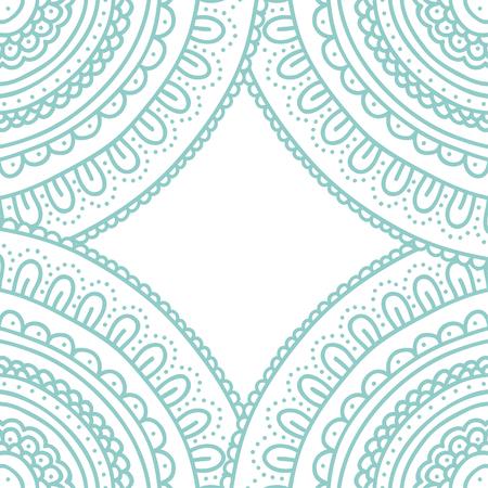 Doodle lace ornament card. Hand drawn pastel blue  invitation. Vector illustration.