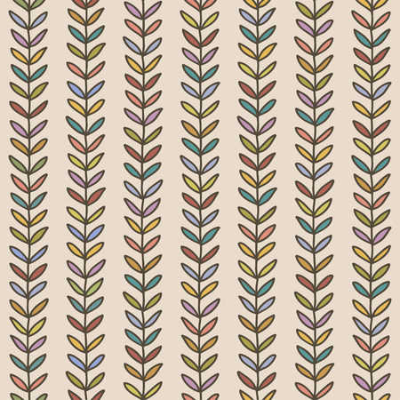 Seamless doodle pattern. Retro simple background. Hand drawn autumn wallpaper. Vector illustration.
