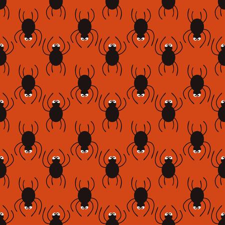 Halloween spiders pattern. Cute seamless background. Vector illustration. Illustration
