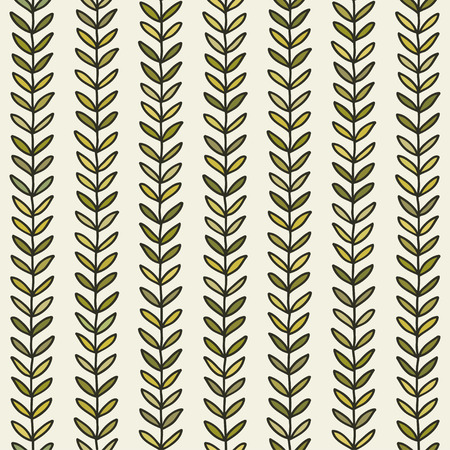 Simple green leaf seamless pattern. Hand drawn natural background. Vector illustration.