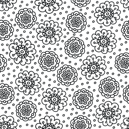 Coloring page flower pattern. Seamless hand drawn background for coloring book. Black and white vector illustration