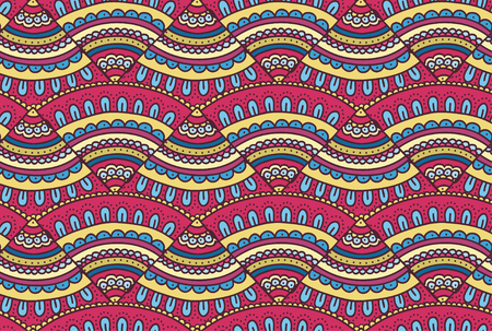 Colorful doodle ornament Background. Bright seamless abstract pizza pattern. Vector illustration.
