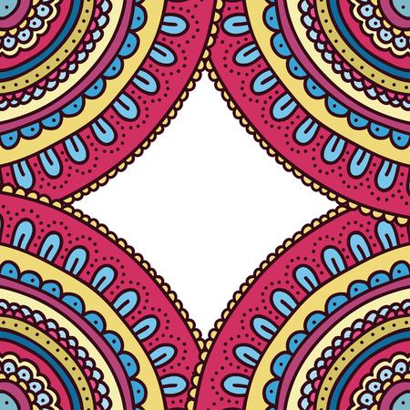 holiday invitation: Colorful doodle ornament frame. Bright invitation holiday card. Vector illustration. Illustration
