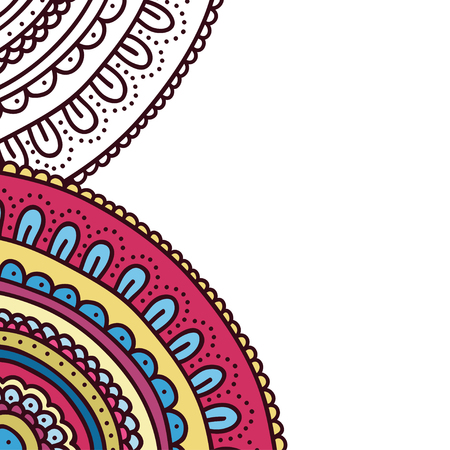 Doodle ornament coloring book cover. Page of adult coloring book. Colorful flower card. Vector illustration.