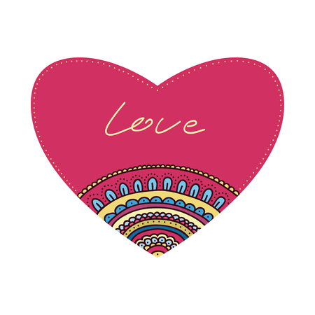Doodle ornament heart. Colorful valentines day card. Vector illustration.