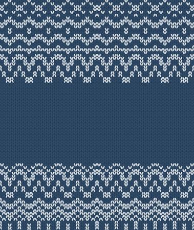 Seamless knitting blue pattern. Winter ornament background. Vector illustration