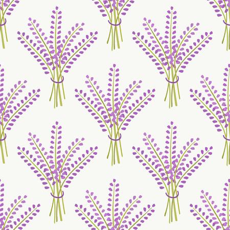 fragrant bouquet: Lavender bouquet seamless pattern. Cute nature background. Vector illustration. Illustration