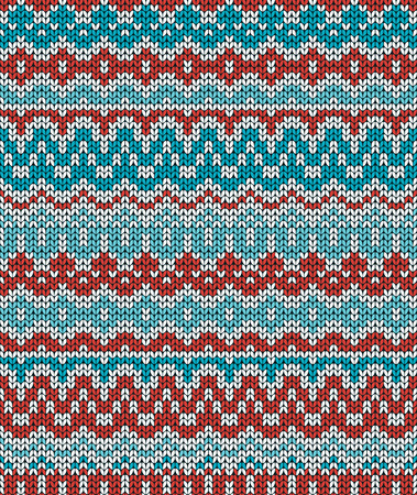 Colorful Christmas knitting pattern. Seamless winter ornament background. Vector illustration. Illustration
