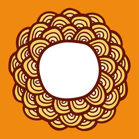 simple frame: Simple abstract sunflower. Doodle frame.  Vector illustration. Illustration