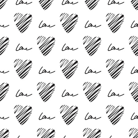 grunge heart: Grunge heart seamless pattern. Simple seamless monochrome wallpaper. Hand drawn background. Vector illustration.
