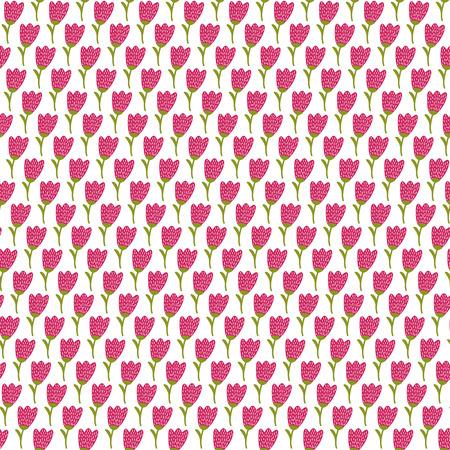 Simple doodle tulip pattern. Cute flower seamless background. Summer wallpaper. Vector illustration.