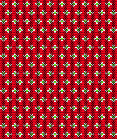 Simple Seamless Knitting Red Flower Pattern Abstract Background