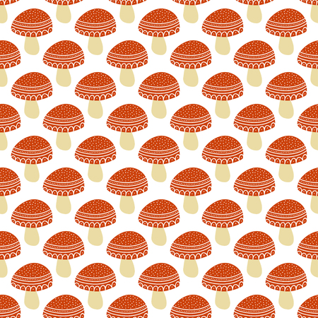 agaric: Simple doodle cute amanita pattern. Fly agaric hand drawn seamless background. Vector illustration.