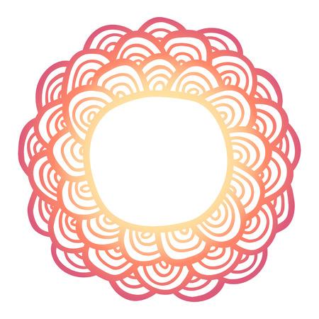 Doodle sun flower frame . Simple flower label. Mehndi hand drawn template. Vector illustration.