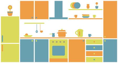 furniture design: Kitchen interior in flat design. Kitchen furniture.