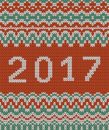 Christmas seamless knitting pattern. New year 2017.