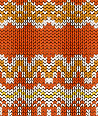 Orange seamless knitting card. Autumn banner. illustration. Illustration