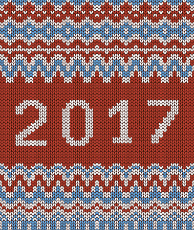 Christmas seamless knitting pattern. New year 2017. Red and blue background. Vector illustration. Illustration