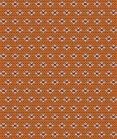 Simple seamless knitting pattern. Autumn orange background. Vector illustration. Illustration