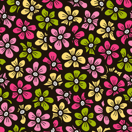 Little flower doodle seamless pattern.  Beautiful background. Vector illustration. Illustration