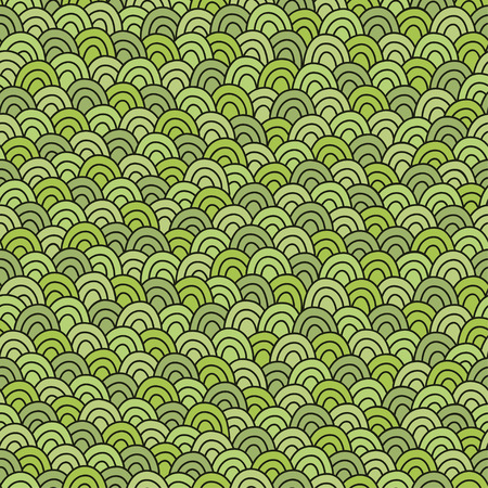 Simple doodle green pattern. Abstract grass seamless background. Vector illustration.