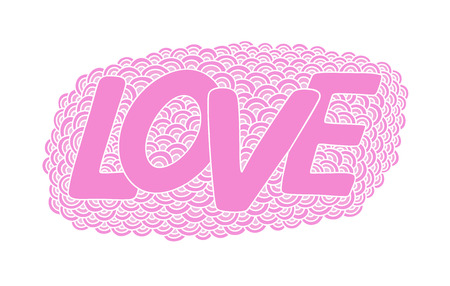 Love. Hand drawn pink doodle vector  illustration. This illustration can be used as a greeting card for Valentines day or wedding, as a print on t-shirts and bags.