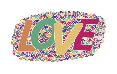 Love. Hand drawn colorful doodle vector  illustration. This illustration can be used as a greeting card for Valentines day or wedding, as a print on t-shirts and bags.