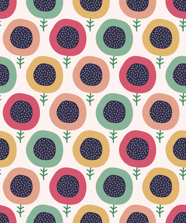 Seamless doodle flowers pattern. Cute kids background. Vector illustration. Illustration