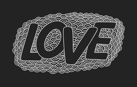 Love. Hand drawn doodle vector  illustration. This illustration can be used as a greeting card for Valentines day or wedding, as a print on t-shirts and bags.