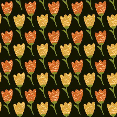 Doodle yellow tulip pattern. Cute seamless background. Flower backdrop. Vector illustration.