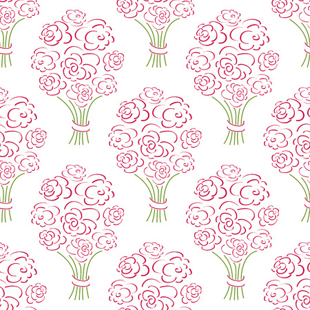 Rose bouquet seamless pattern. Hand drawn  background. Flower sketch wallpaper. Vector illustration.