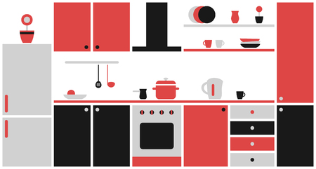 Kitchen interior in flat design. Black and red Kitchen furniture. Vector illustration.