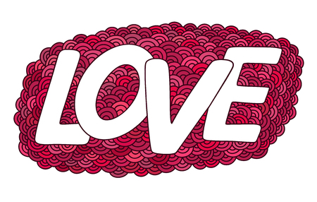 Love.Red Hand drawn doodle vector  illustration. This illustration can be used as a greeting card for Valentines day or wedding, as a print on t-shirts and bags.