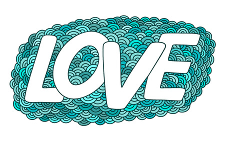 Love.Blue hand drawn doodle vector  illustration. This illustration can be used as a greeting card for Valentines day or wedding, as a print on t-shirts and bags. Illustration