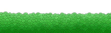 Green abstract border. Doodle seamless background. Hand drawn grass pattern. Vector illustration. Illustration