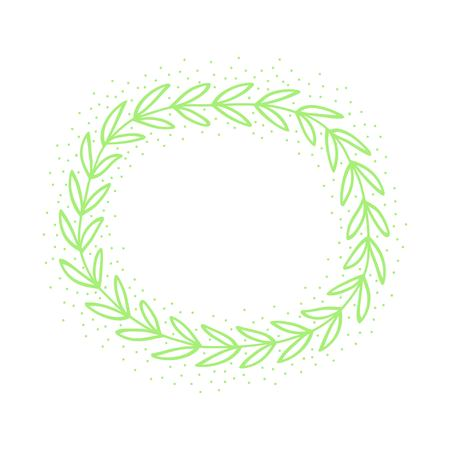 Hand drawn green wreath. Simple frame. Vector illustration. Illustration
