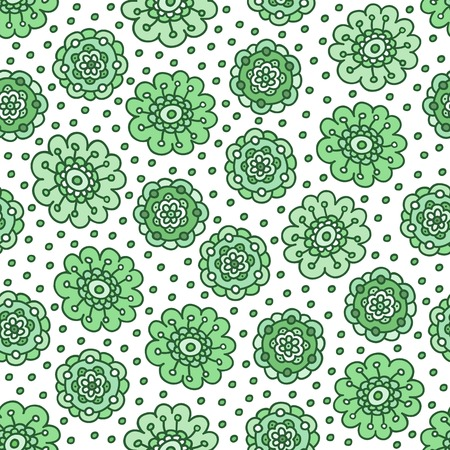 Green floral seamless pattern. Pretty hand drawn doodle background. Vector illustration. Illustration