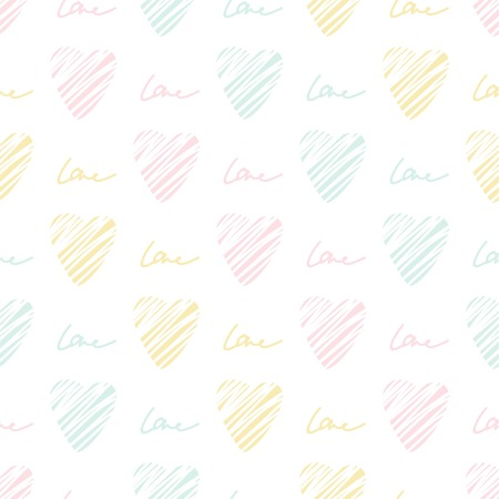 Pastel heart seamless pattern. Simple seamless  wallpaper. Hand drawn background. Vector illustration.