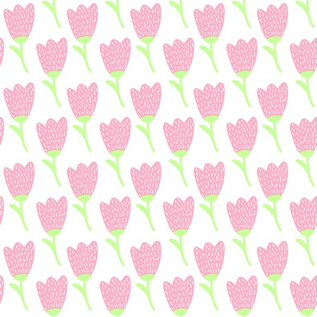 Cute, Simple pastel pink tulip flower continuous pattern for summer wallpaper.