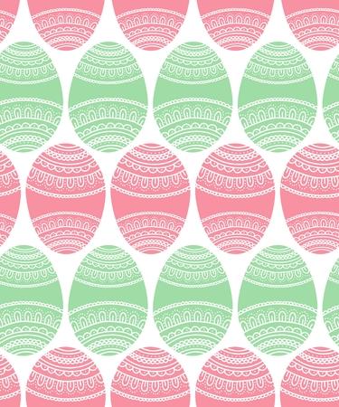 Simple easter egg doodle ornament seamless pattern, vector illustration
