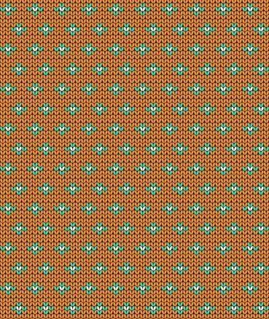 Simple seamless knitting pattern. Autumn orange background. Vector illustration. Ilustração