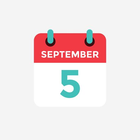 Flat icon calendar, 5 September. Date, day and month. Vector illustration.
