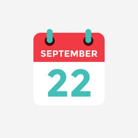 Flat icon calendar, 22 September. Date, day and month. Vector illustration.