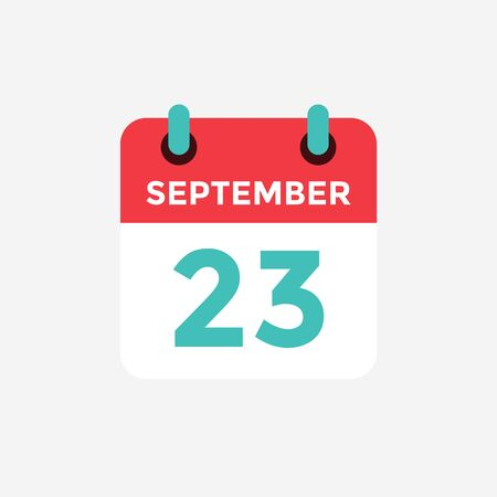 Flat icon calendar, 23 September. Date, day and month. Vector illustration. Ilustração