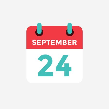Flat icon calendar, 24 September. Date, day and month. Vector illustration.