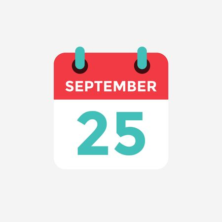 Flat icon calendar, 25 September. Date, day and month. Vector illustration.