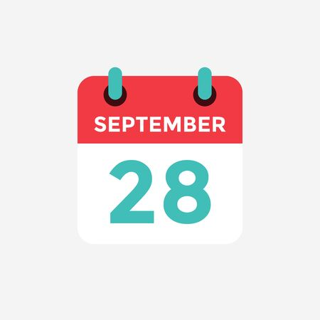 Flat icon calendar, 28 September. Date, day and month. Vector illustration. Ilustração