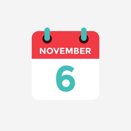 Flat icon calendar 6 November. Date, day and month. Vector illustration. Standard-Bild - 128822677