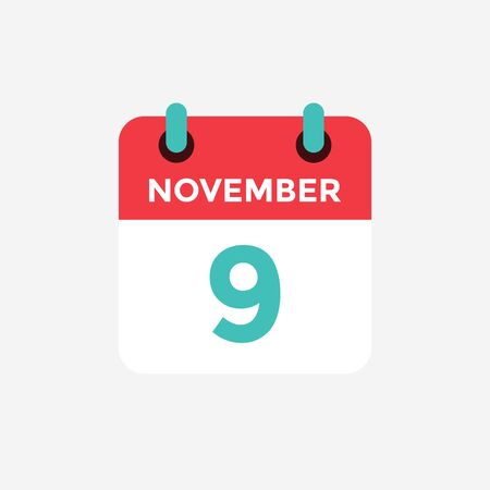 Flat icon calendar 9 November. Date, day and month. Vector illustration.